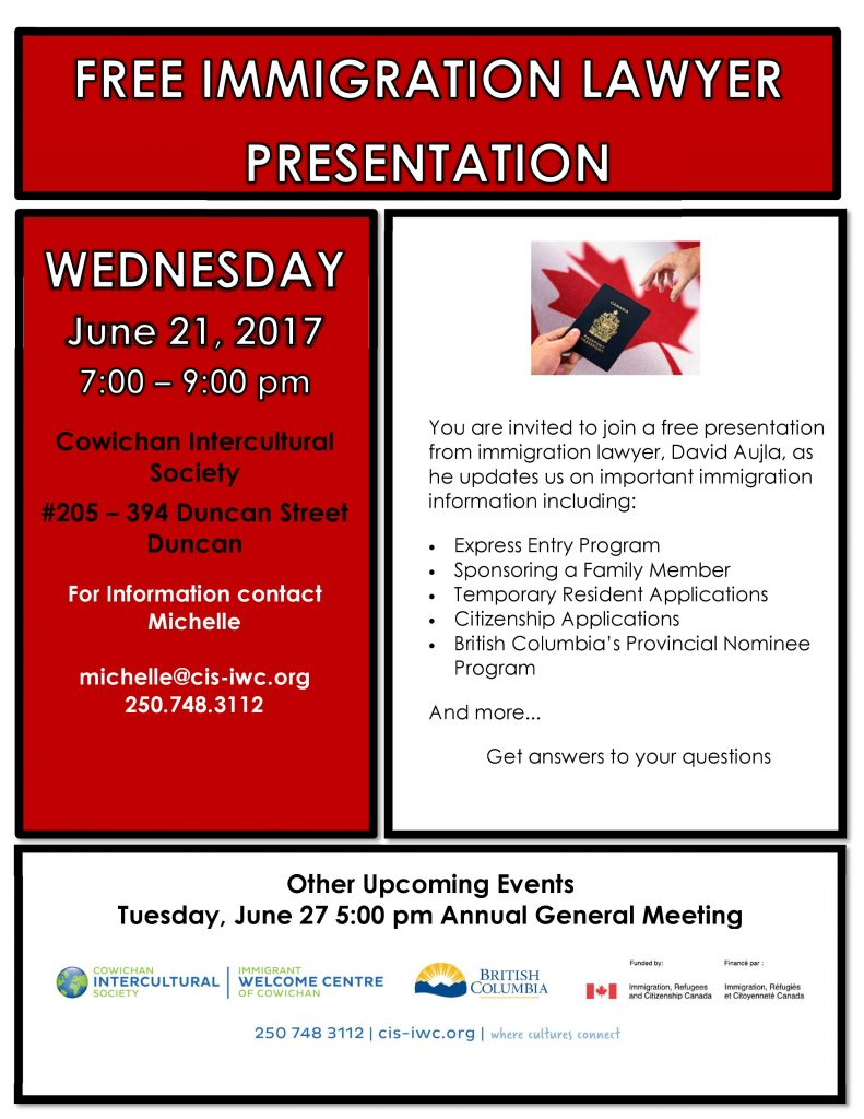 Free Immigration Lawyer Presentation @ Cowichan Intercultural Society Classroom | Duncan | British Columbia | Canada
