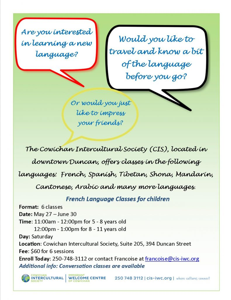 French Language Classes for Children @ Cowichan Intercultural Society Classroom | Duncan | British Columbia | Canada