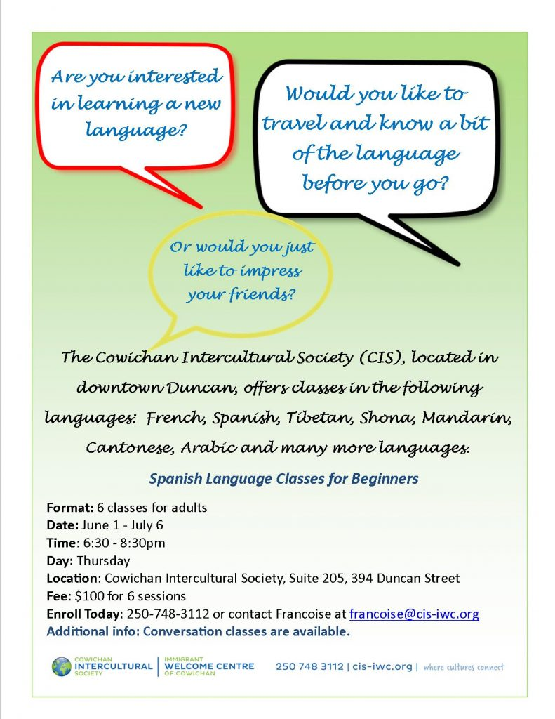 Beginner Spanish Classes for Adults @ Cowichan Intercultural Society Classroom | Duncan | British Columbia | Canada